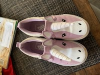 pair of pink-and-white leather loafers 55 km