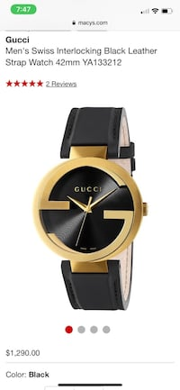 round gold-colored analog watch with black leather strap Washington, 20002