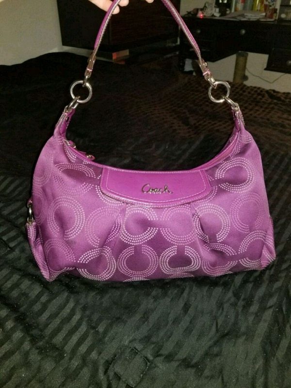 Coach Ashley Dotted Hobo Bag F20031 - Berry/Berry