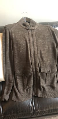 Banana Republic Brown Zippered Sweater. Button at Top and Two Front Pockets   Pikesville, 21208