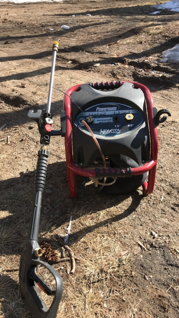 Red and black Powermate pressure washer