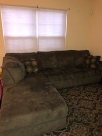 brown suede sectional couch with throw pillows Arlington, 22209