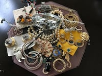 Lot of costume jewelry and tray