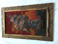 Velvet Painting of a ship Wood Carved Frame Vintage  1970