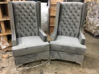 gray tufted fabric sofa chairs. Each Brampton, L6P 1R6