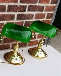 2 - BEAUTIFUL VINTAGE GOLD BRASS BANKERS DESK LAMPS!!