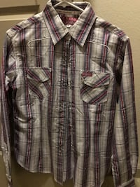 beige and red plaid button up collared shirt Phoenix, 85054