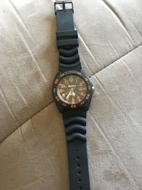 round black chronograph watch with black strap Blainville