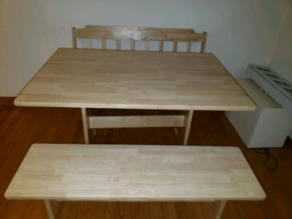 Solid wood kitchen table and benches