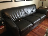 Espresso brown leather couch
