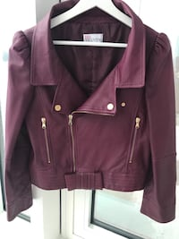 Red Valentino burgundy leather jacket with a bow Montréal, H3B 0C7
