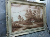 brown wooden framed painting by Collazi Los Angeles, 91344