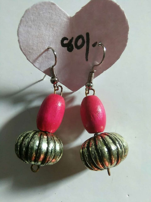 gold and red pumpkin hook earrings