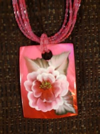 Handpainted  rose shell necklace
