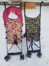 baby's two pink-and-green floral and multicolored alphabet-print lightweight strollers Regina, S4N 0T9