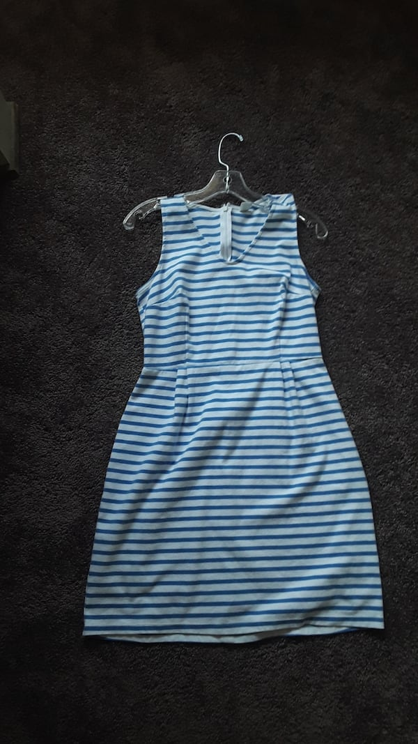 Summer blue and white striped dress 0