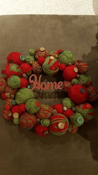 red and green yarn and buttons wreath Ayr, N0B 1E0