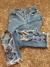 Blue denim jeans and shorts