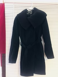 Apt. 9 Women's Sweater Trim Ribbed Black Wool Coat - Size M Jersey City, 07306