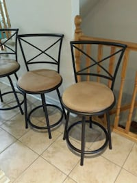 3 Bronze metal framed taupe/faux suede chairs Cambridge, N3C 4P5