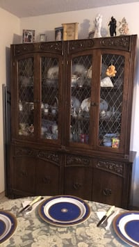 Antique glass hutch and base 550 km