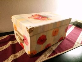 Brass Accent Handled Floral Storage Box