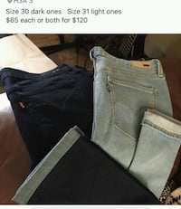 two black and blue jeans size 30 n 31