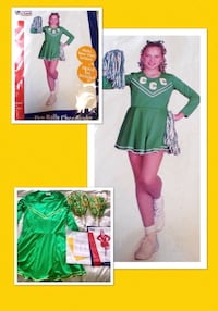 "CALIFORNIA COSTUMES COLLECTION * brand ""PEP RALLEY CHEERLEADER!"" Green & yellow cheerleader costume women's size LARGE- NEW!  Carrollton, 75007"