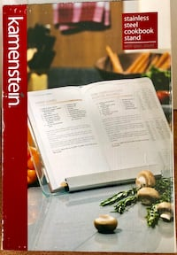 Stainless steel and glass cookbook stand