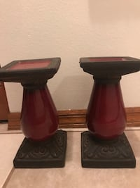 Burgundy ceramic candle holders.  11 inches tall  784 mi