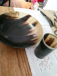 Horn cup and bowl set