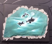 Hand-painted by Artist ...killer whales on slate with beach glass around it on black mount frame Welland, L3C