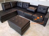 Brand new black leather sectional sofa with ottoman  Silver Spring, 20902
