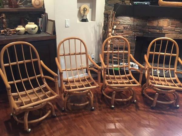 Used Four Rattan Bamboo Rolling Chairs By Clark