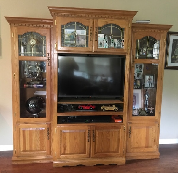 Solid Oak Wood Tv Entertainment Center With Two Display Cabinets Height 80 Inches