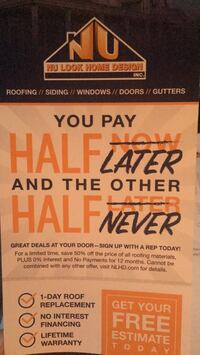 Free estimates! Roofing, siding, windows, doors and gutters! 46 km