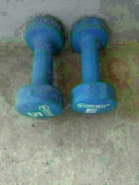 two blue Sports hex dumbbells
