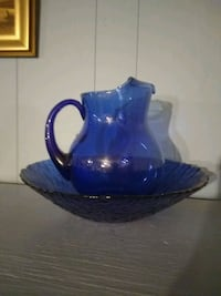 Cobalt water pitcher and bow
