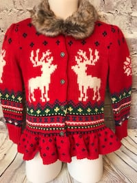 Ralph Lauren Blue Label Sz 4/4T Girls Christmas Sweater New with Tags Retails $130