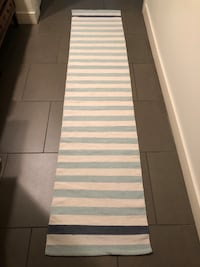 "21"" x 94"" COTTON RUNNER / RUG: CREAM / NAVY / LIGHT BLUE STRIPE"