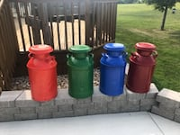 Powder coated milk cans. Red one is sold  null