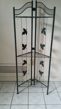 3 tier foldable green metal triangular plant stand