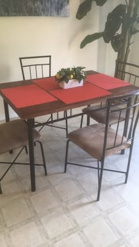 rectangular brown wooden table with four chairs dining set San Antonio, 78245