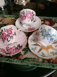 Set of 3 collectible cups and saucers, $18 00 each Laval, H7G 1G2