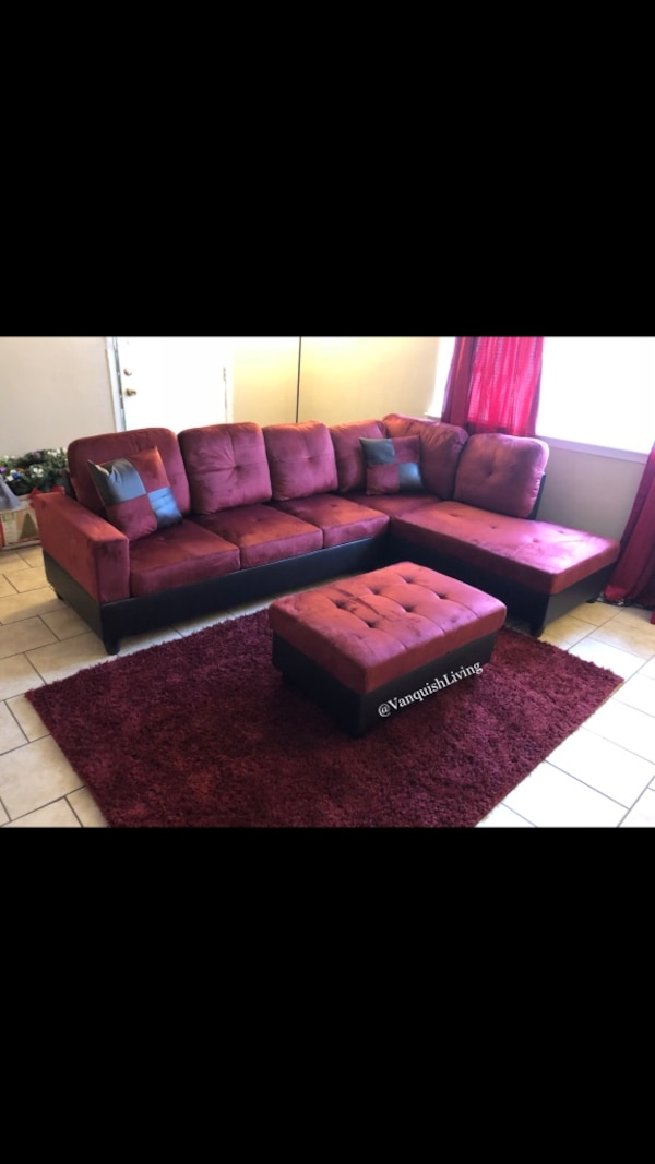 5 Star Black and Red Suede Sectional Sofa - Storage Ottoman - Living Room  Set - Black and Red Living Room Set - Brand New!!!
