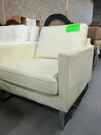 white fabric sofa chair