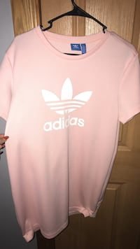 white and pink Adidas crew-neck dress