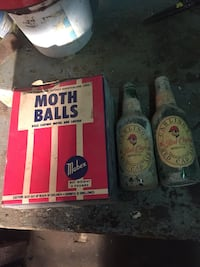 Moth Balls box and two Carling's red cap ale bottles