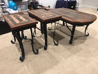 Rustic Coffee Table and 2 end tables, it on bases with wood and slate inlay tops $125 for all Manassas
