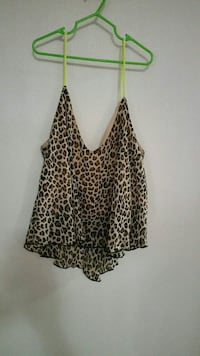 brown and black leopard print spaghetti strap top Chaparral, 88081